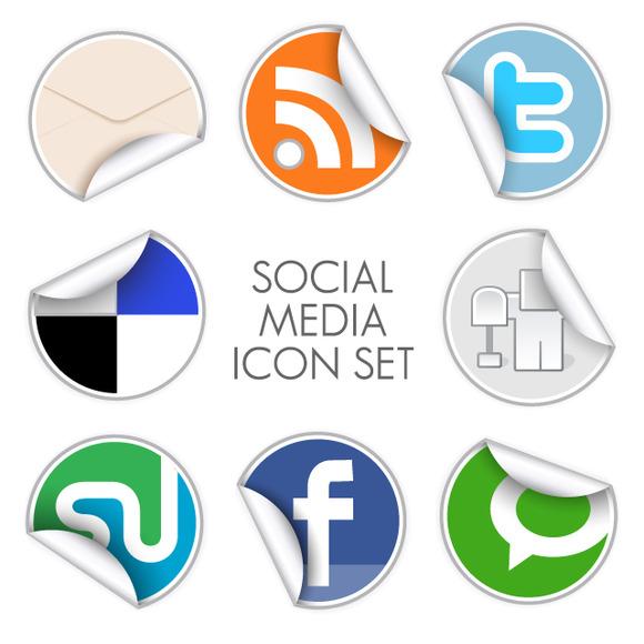 Social Media Icon Set Round Stickers