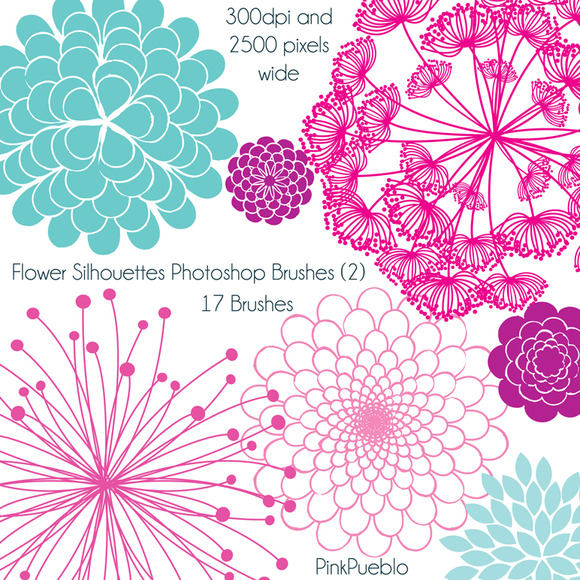 Flower Silhouettes Photoshop Brushes