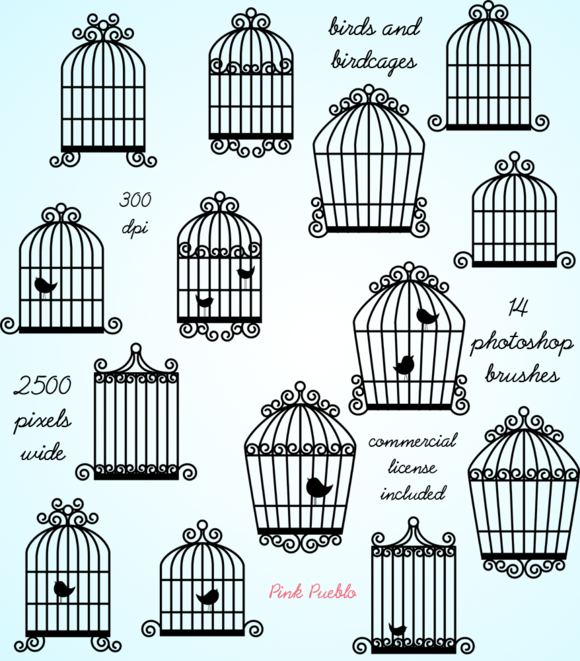 Birdcages Photoshop Brushes
