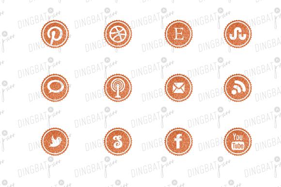 TANGERINE Glitter Social Media Icons