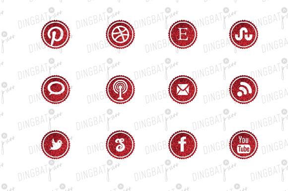 RED Glitter Social Media Icons