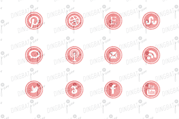 PINK Glitter Social Media Icons