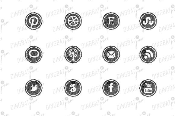 BLACK Glitter Social Media Icons