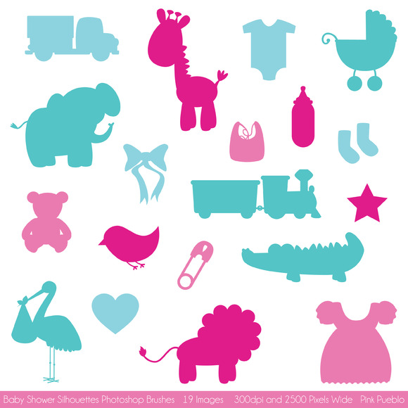 Baby Shower Silhouettes Brushes