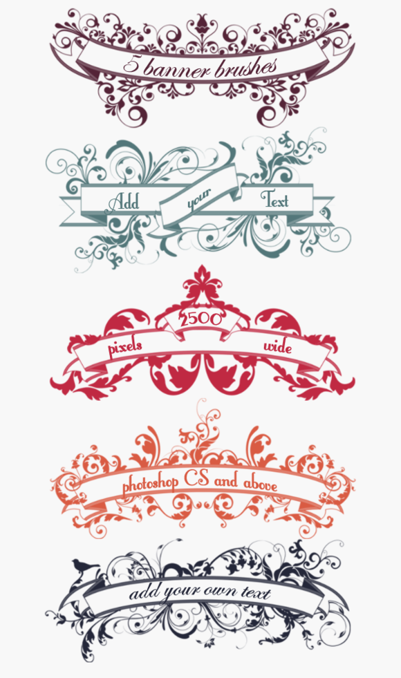 Floral Banner Scroll Brushes