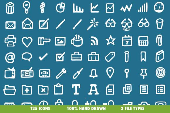Drawn Icons 125 Vectors