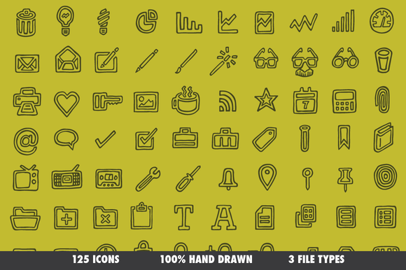 Drawn Icons 125 Vectors