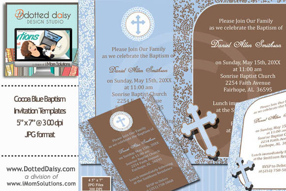 Cocoa Blue Baptism Templates