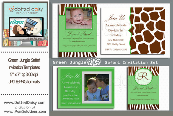 Green Jungle Invitation Templates