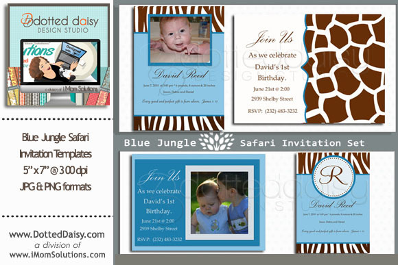 Blue Jungle Invitation Templates