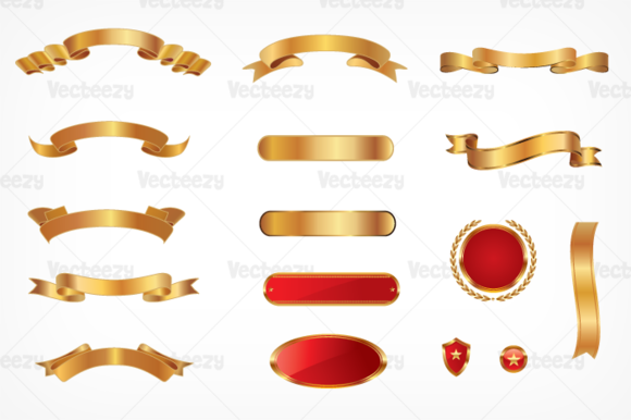 Golden Banner Vector Pack