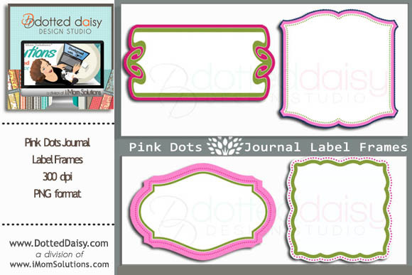 Pink Dots Journal Labels