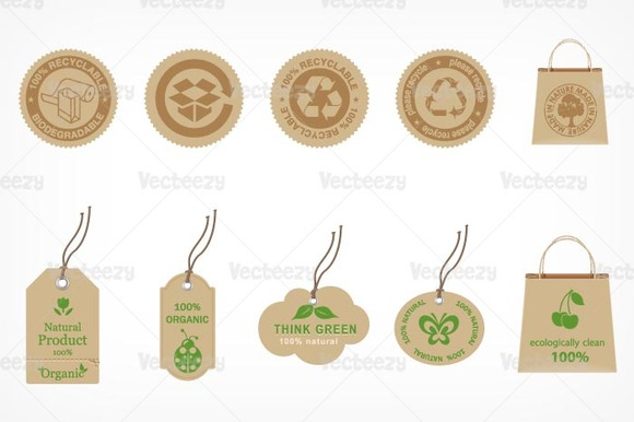 Recycle And Organic Vector Label Pac