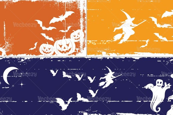Grungy Halloween Vector Banners Pack