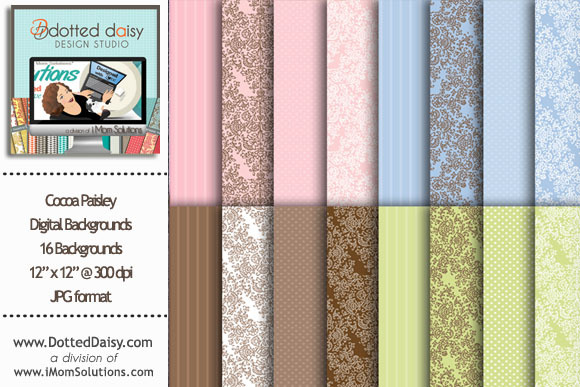 Cocoa Paisley Digital Backgrounds