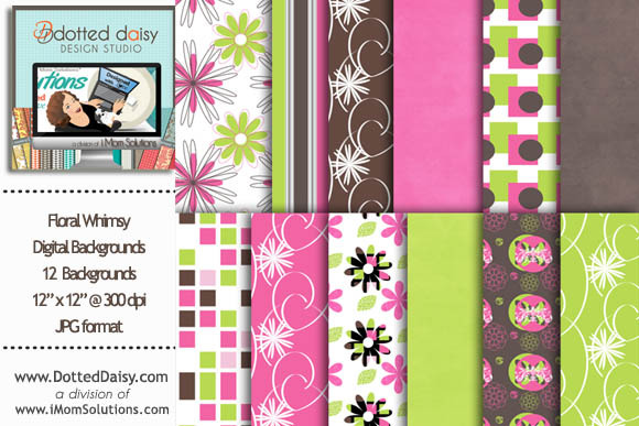 Floral Whimsy Digital Backgrounds