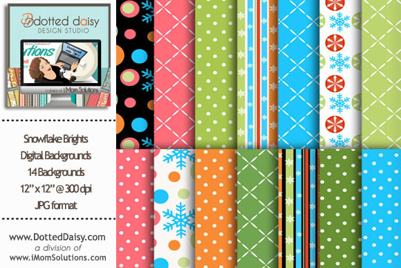 Snowflake Brights Digital Papers