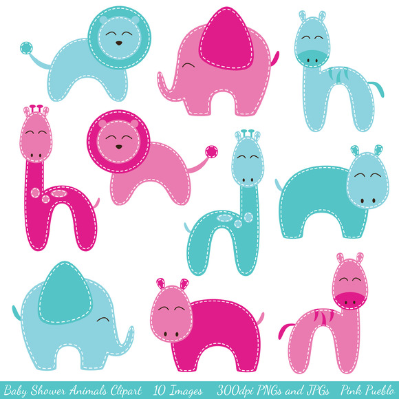 Baby Shower Animal Vectors Clipart