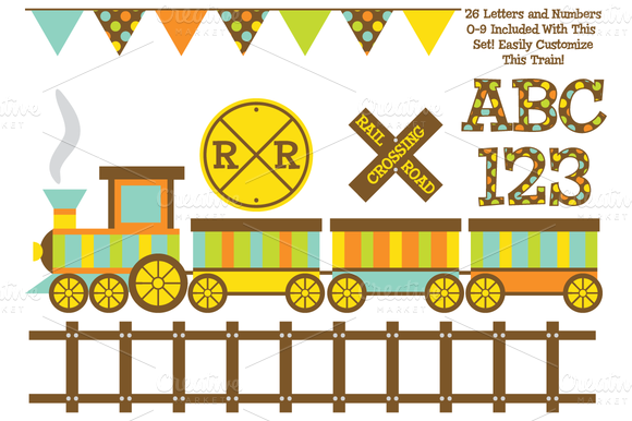 Vector Train And Digital Alphabet