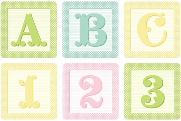 Vector Shabby French Blocks Alphabet