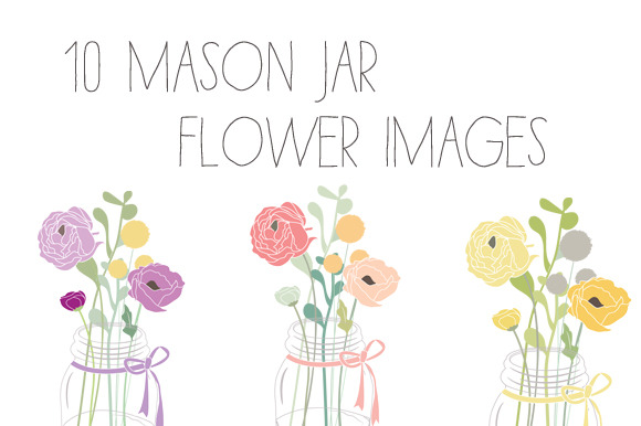 Mason Jar Flower Clip Art Vector
