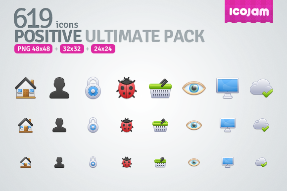 619 Icons In Positive Ultimate Pack