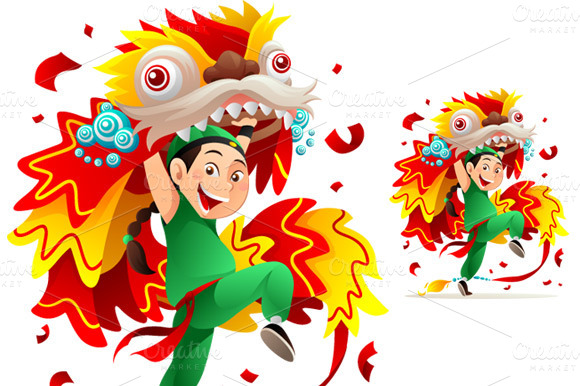 Chinese Lion Dance Vector Chinese Lion Dance Called