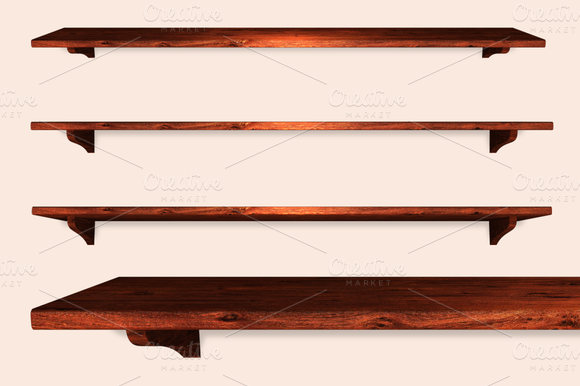 12 Isolated Wooden Shelves