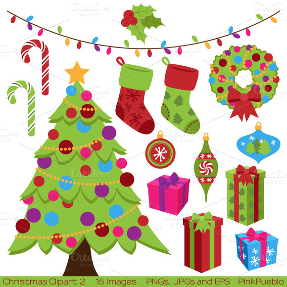Christmas Elements Vectors Clipart