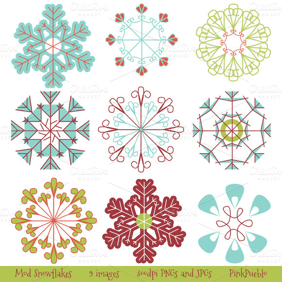 Mod Snowflakes Vectors And Clipart