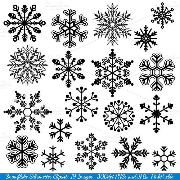Snowflake Silhouette Vectors Clipart