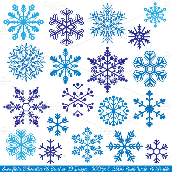 Snowflake Silhouettes PS Brushes