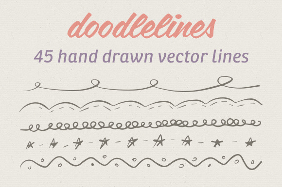 45 Hand Drawn Vector Lines