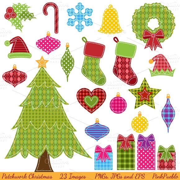 Patchwork Christmas Clipart Vectors