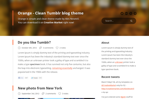 Orange Tumblr Blog PSD Theme