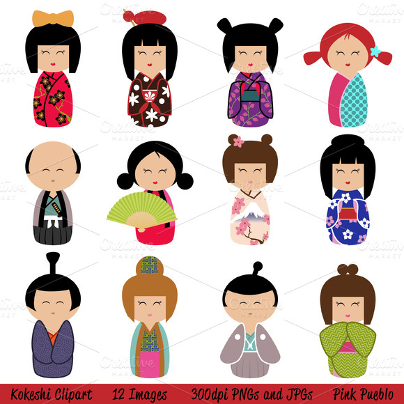 Kokeshi Vectors And Clipart