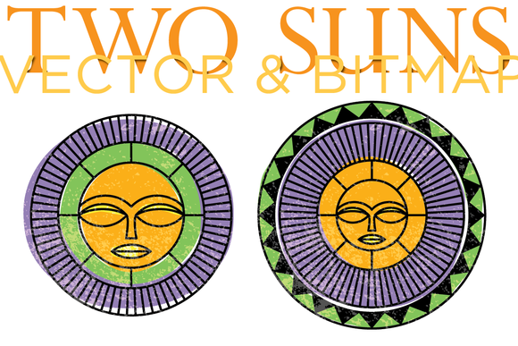 Two Vector Bitmap Suns
