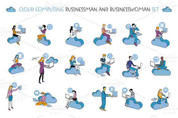 Cloud Computing Man And Woman Set