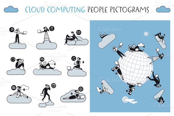 Cloud Computing People Pictograms