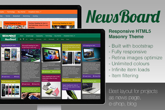 NewsBoard Responsive Masonry Theme