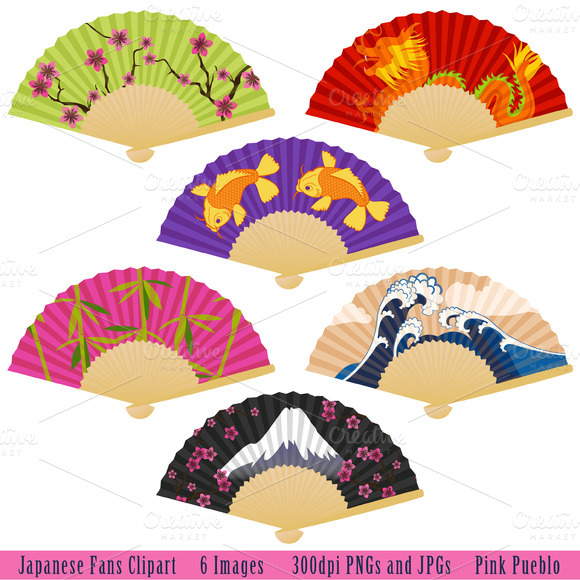 Japanese Fans Vectors And Clipart