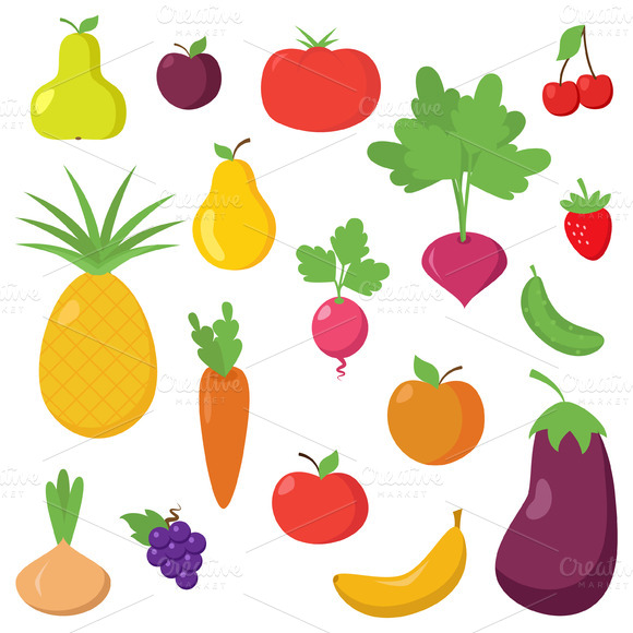 Fruit And Vegetable Vectors Clipart