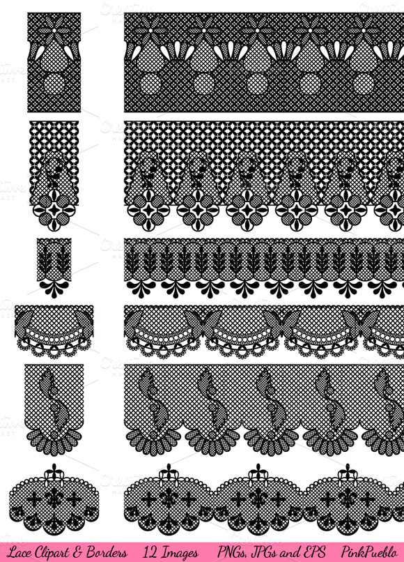 Lace Lace Borders Vectors Clipart