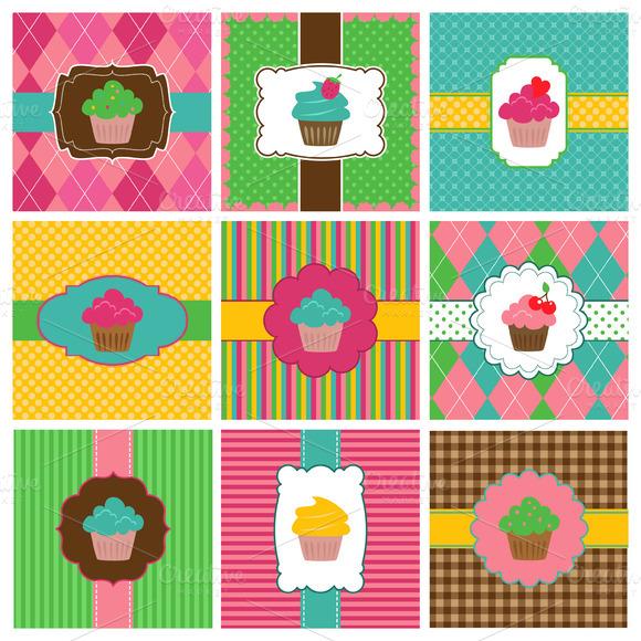 Cupcake Gift Tags Vectors