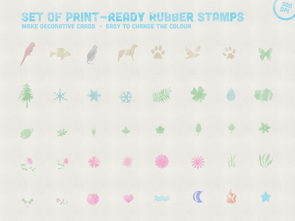 Set Of Print Ready Rubber Stamps