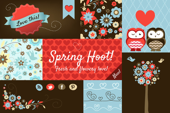 Spring Hoot Design Elements Pack