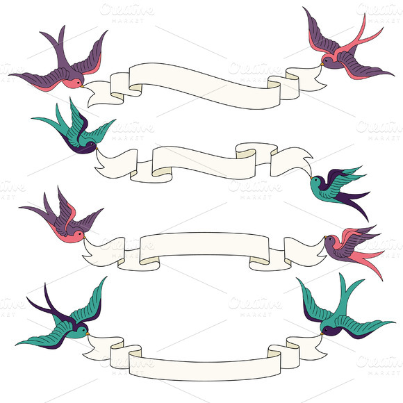 Swallows Banners Vectors Clipart