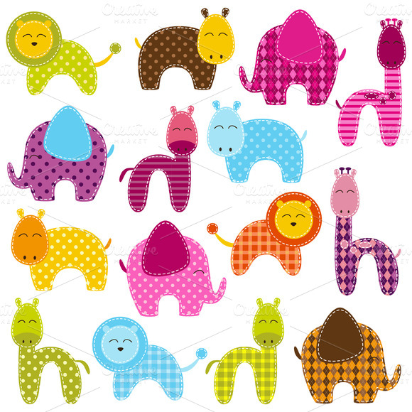 Patchwork Animals Vectors Clipart