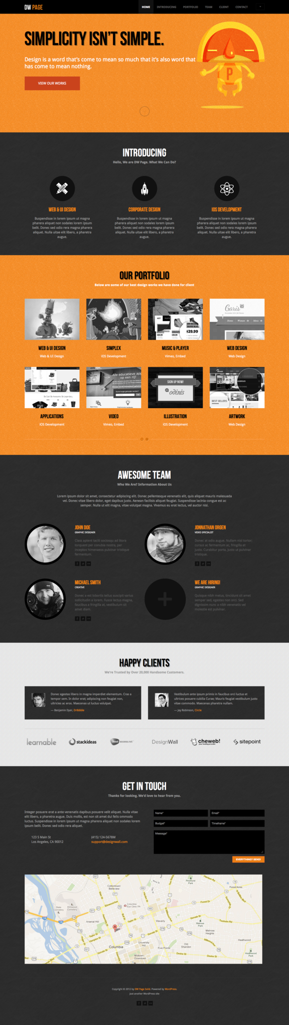 DW One Page Solid WordPress Theme