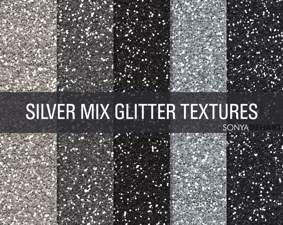 Mixed Silver Glitter Textures
